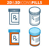 The pill bottle. Flat and isometric 3d outline icon set.