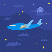 The plane flying in the night above the clouds, flat style illustration.