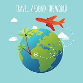 The plane is flying around the earth. Travel and Tourism.