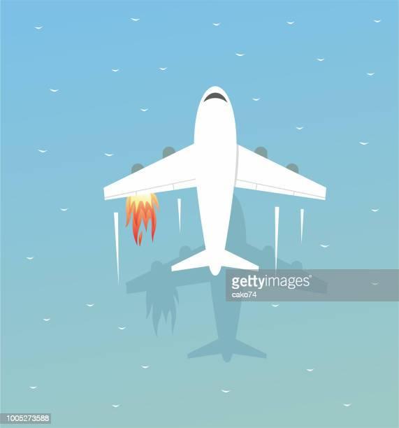 illustrations, cliparts, dessins animés et icônes de l'avion est contraint de se poser sur la mer - catastrophe aérienne
