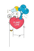 The planet of love. Vector illustration.