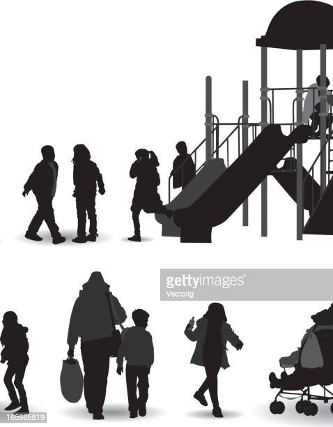 the playground silhouette - adult stock illustrations, clip art, cartoons, & icons