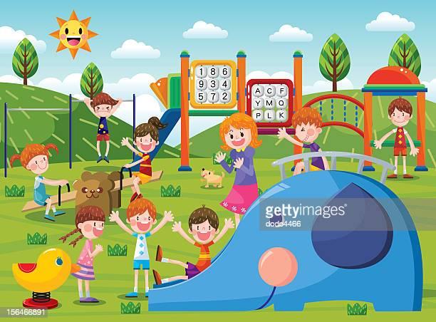 ilustraciones, imágenes clip art, dibujos animados e iconos de stock de el patio de juegos - parque infantil