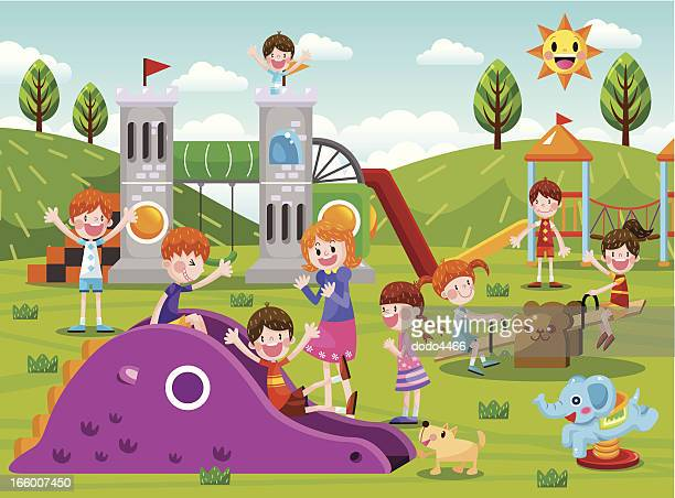 the playground - school yard stock illustrations, clip art, cartoons, & icons