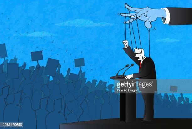 ilustrações, clipart, desenhos animados e ícones de the politician como uma marionete - presidente