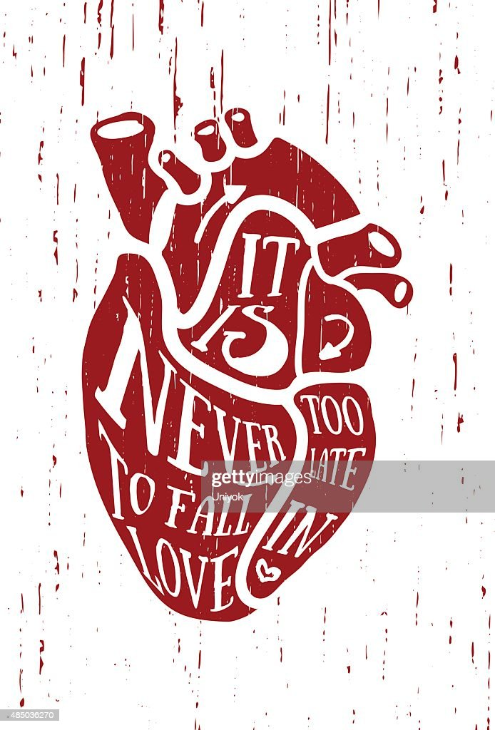 The poster in vintage style with red anatomical human heart.
