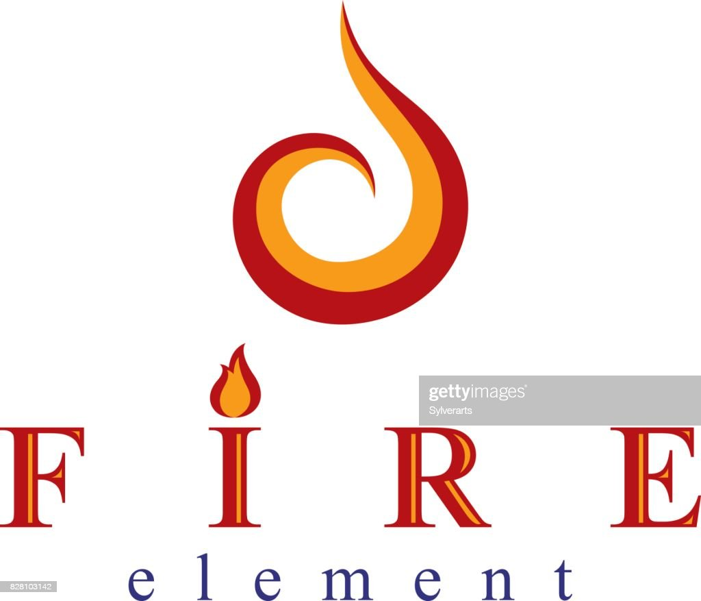 The Power Of Burning Fire Nature Element Vector Symbol For Use In