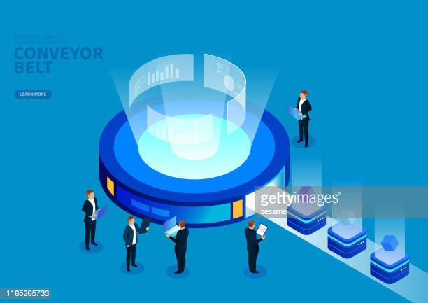 the process of production and analysis of data on a conveyor belt - big data isometric stock illustrations