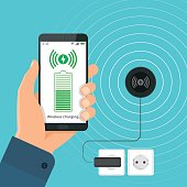The process of wireless charging a smartphone using a device.