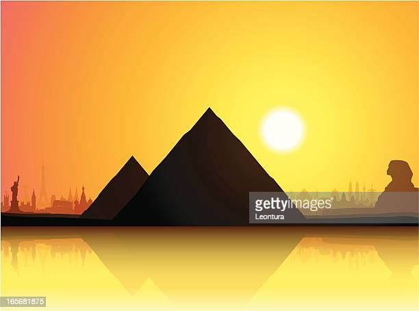 the pyramids - the sphinx stock illustrations, clip art, cartoons, & icons