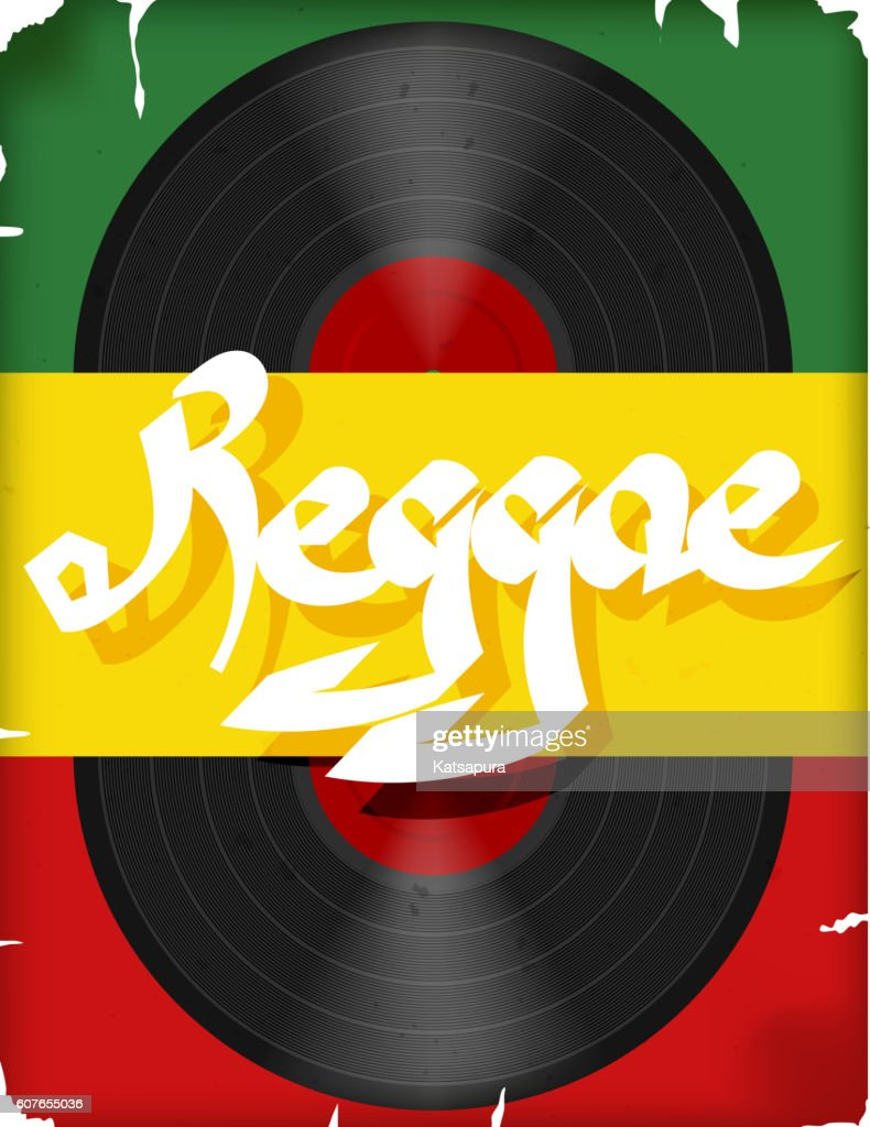 The record reggae music.Musical poster reggae.Vector