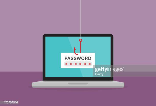 the red fishing hook is stealing password on a laptop - password stock illustrations