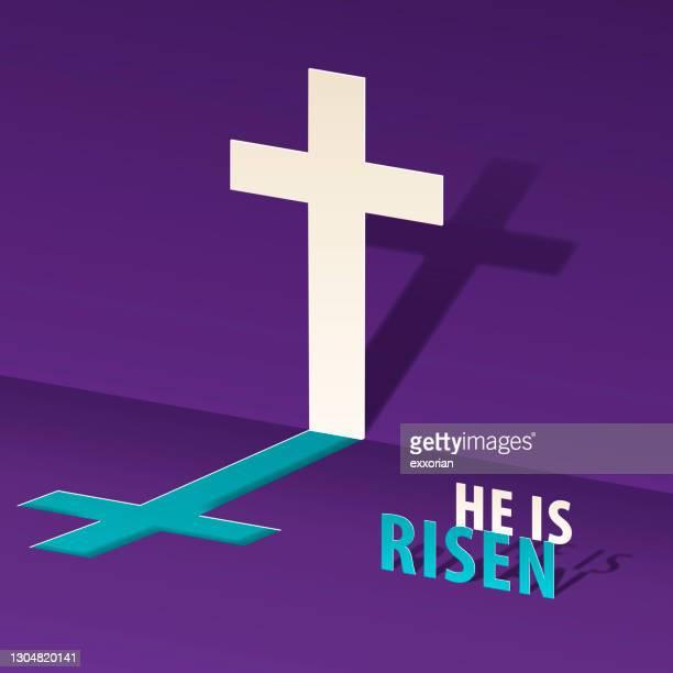 the risen savior concept - christ is risen stock illustrations