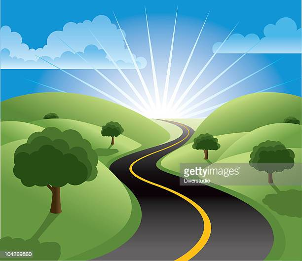 the road to prosperity - heaven stock illustrations
