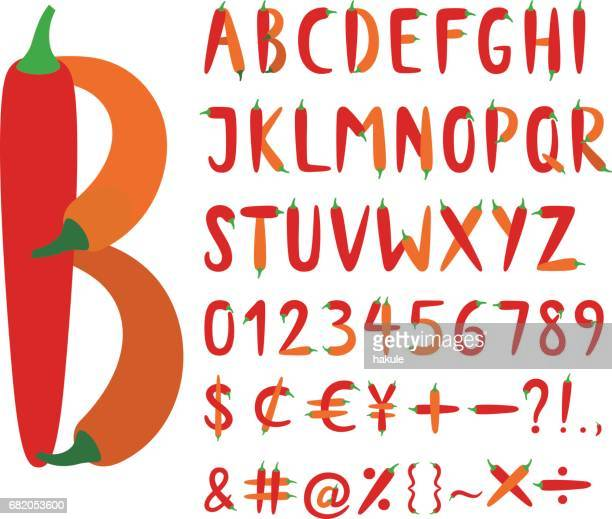 the roman alphabet font composed of red chili peppers - red chili pepper stock illustrations, clip art, cartoons, & icons