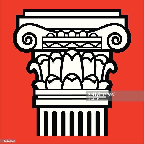 the roman column - corinthian stock illustrations, clip art, cartoons, & icons