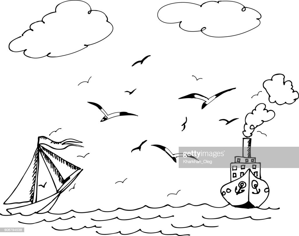 The sailboat and ship. Seagulls flying over the waves.