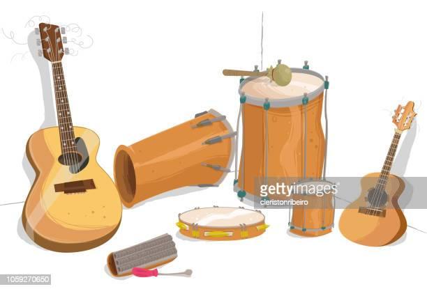 the samba instruments - bass instrument stock illustrations, clip art, cartoons, & icons