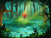 The Scarlet Flower on an island in a swamp in the forest