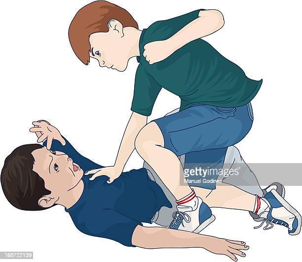 illustrations, cliparts, dessins animés et icônes de l'école, le bully'(couleur - se disputer