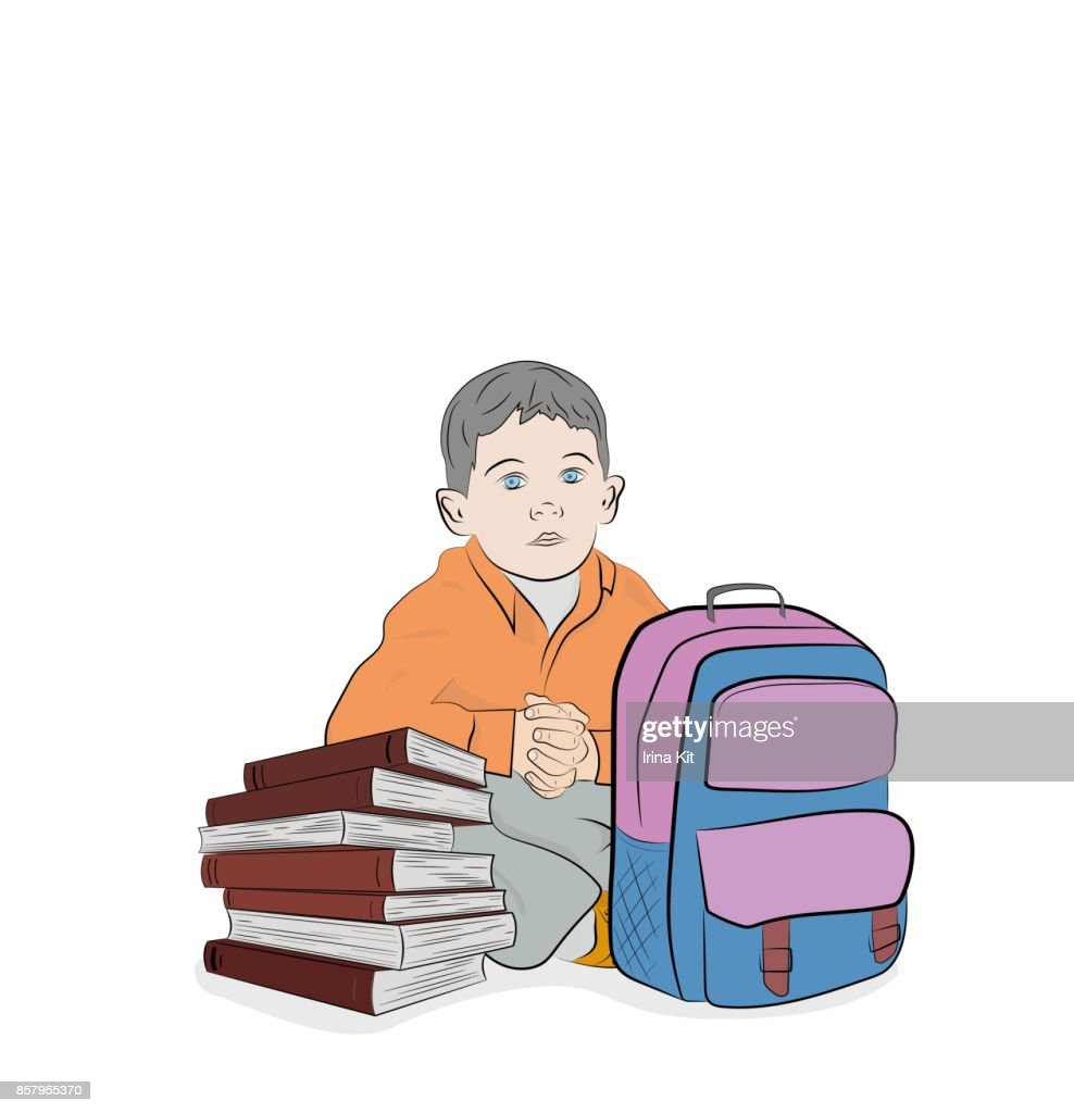 The schoolboy is sitting with textbooks. School subjects. Hand drawn cartoon vector illustration for design and infographics.
