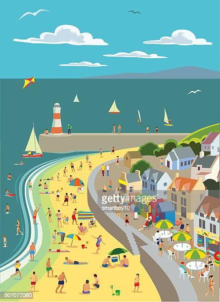 the seaside - beach holiday stock illustrations, clip art, cartoons, & icons