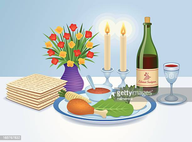 the seder table - passover stock illustrations