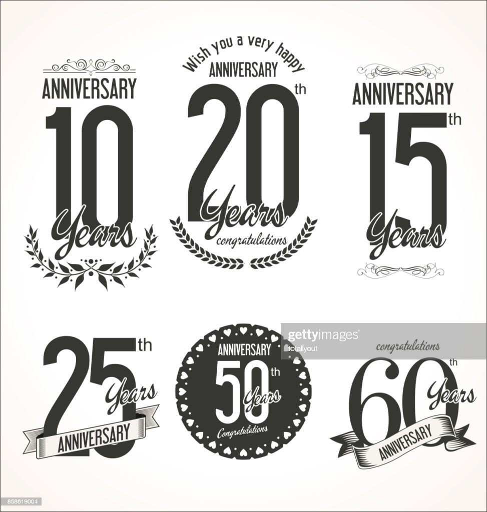 The set of anniversary signs vector illustration