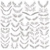 The set of hand drawn vector circular decorative elements