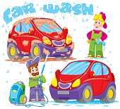 The set of images a professional car wash. Cheerful cleaners will rid your car of dirt. Vector.