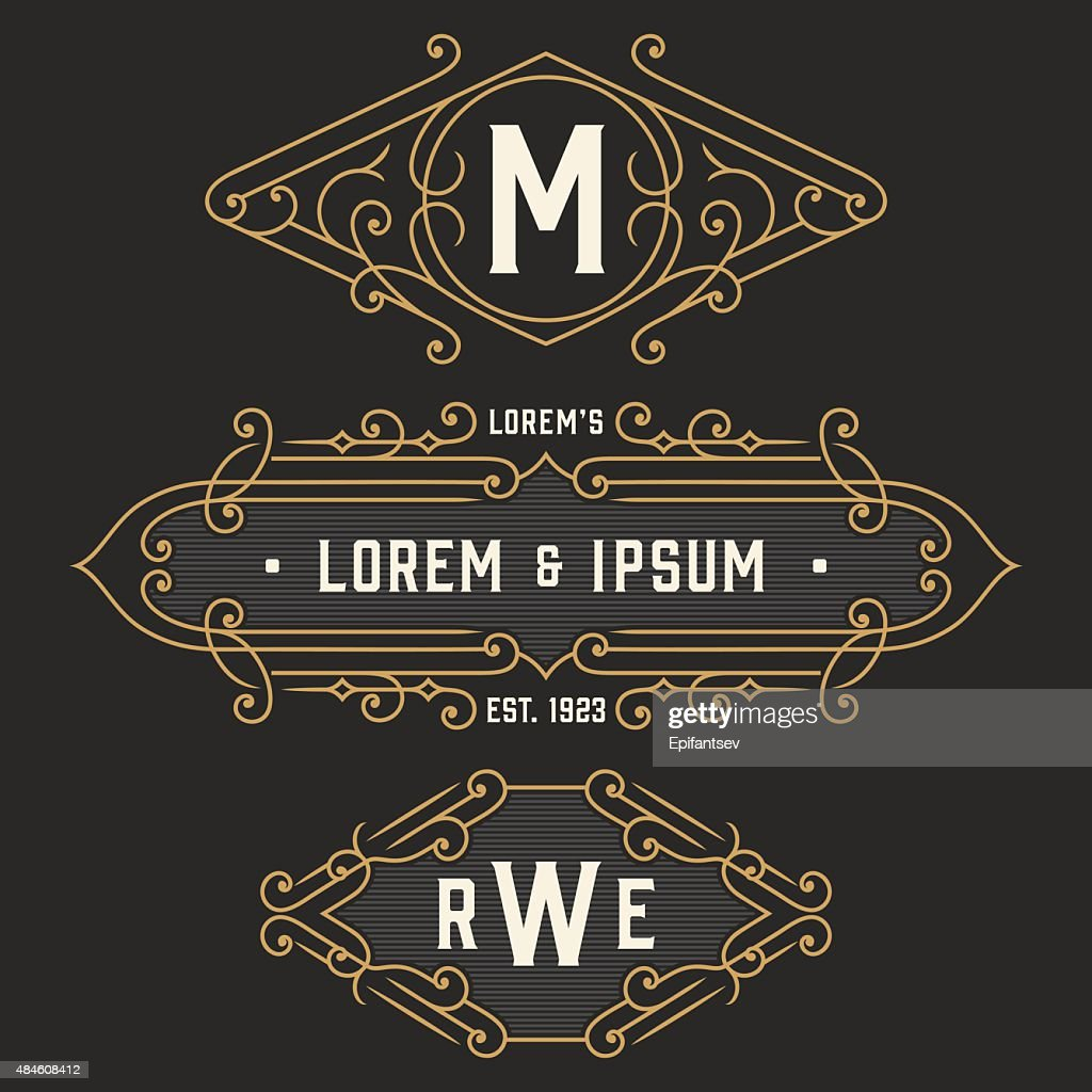 The set of stylish retro signs and emblem templates.