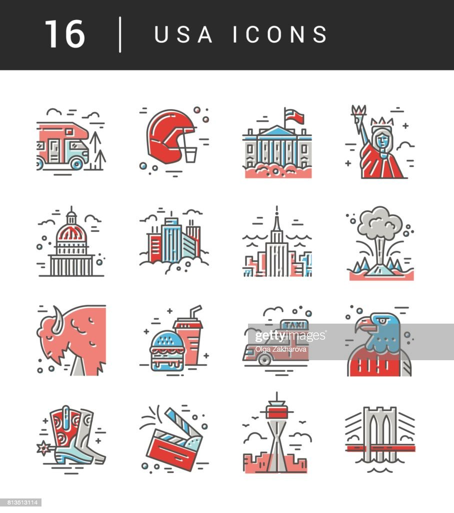 The Set Of Usa Symbols Vector Art Getty Images