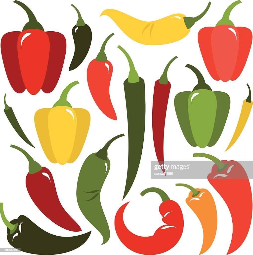 The shape and the multicolor varieties of pepper