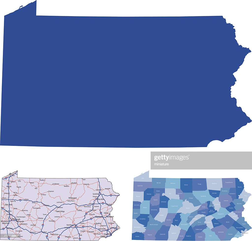 The shape of Pennsylvania in different colors