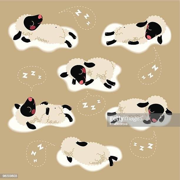the sheep sleep. - sheep stock illustrations, clip art, cartoons, & icons