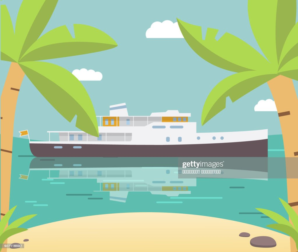 The ship against background of silhouettes of palm trees in flat style a vector.Walking magnificent retro yacht.