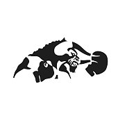 The silhouette of a Bull with Boxing gloves. Sports logo style illustrations of modern design art. Vector illustration