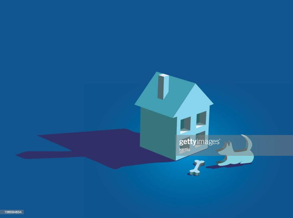 The small house and dog(vector)
