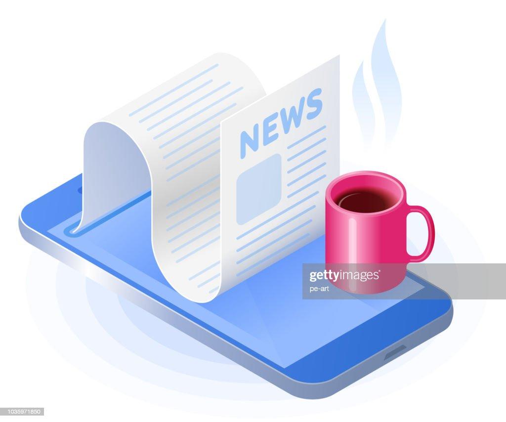 The smart phone, newspaper from the screen, mug of coffee.