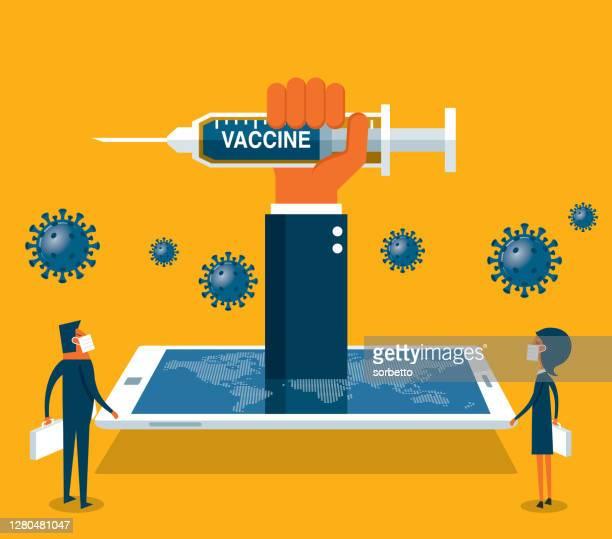 the smartphone, hand holds a syringe - viral shedding stock illustrations