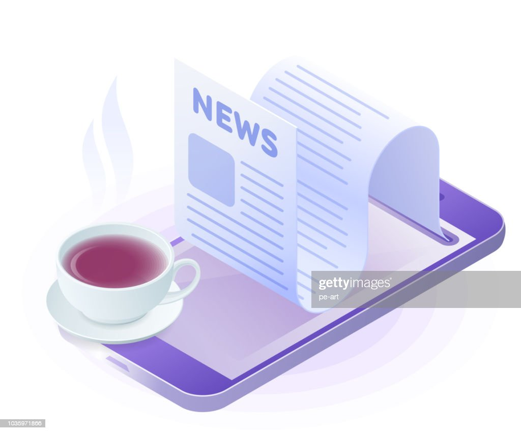 The smartphone, newspaper from the screen, cup of tea.
