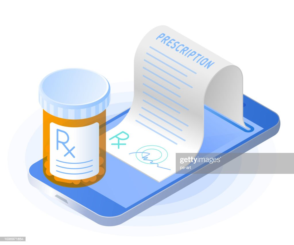 The smartphone, rx prescription from the screen, pill bottle.