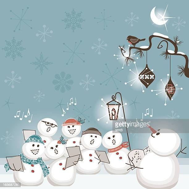 ilustrações, clipart, desenhos animados e ícones de o boneco de neve coral - cantar