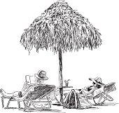 the spouses on the beach sunbathing