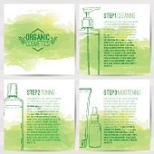 The square booklets about organic cosmetics. Three-step skin care.