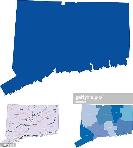 The state of Connecticut in three map formats
