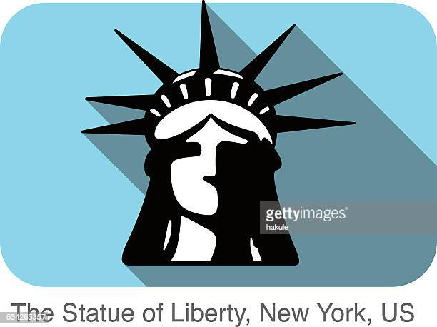 the statue of liberty, new york,  landmark flat icon design - independence stock illustrations, clip art, cartoons, & icons