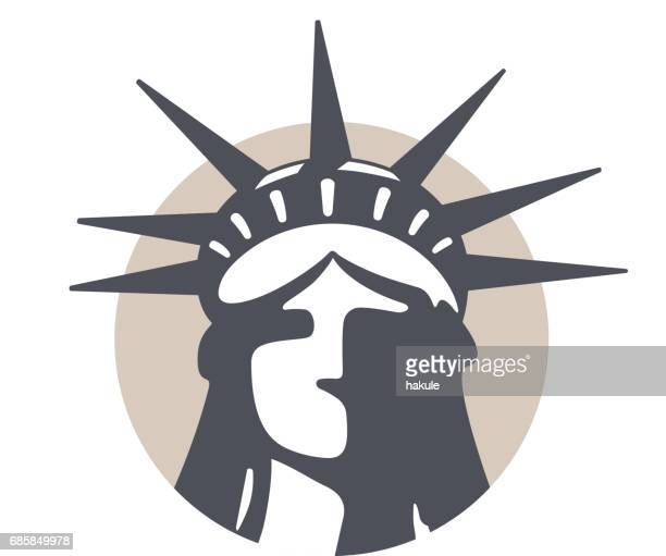 the statue of liberty, new york, landmark flat icon design - religious icon stock illustrations