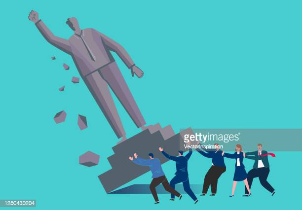 the statue of the giant was pushed to it by a group of businessmen - statue stock illustrations