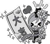 The stylish girls in Kimono (Japanese style cloth)